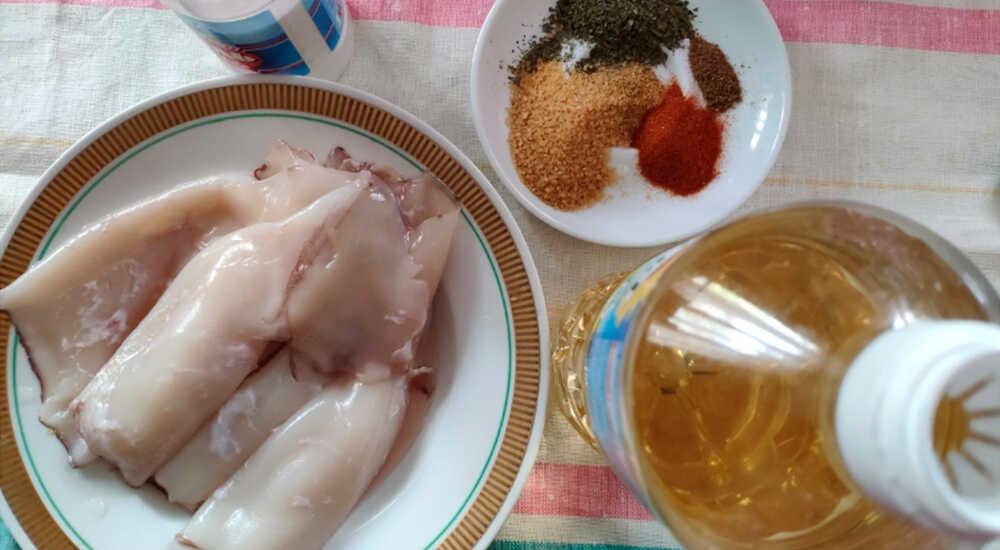 Ингредиенты для приготовления кальмаров в духовке
