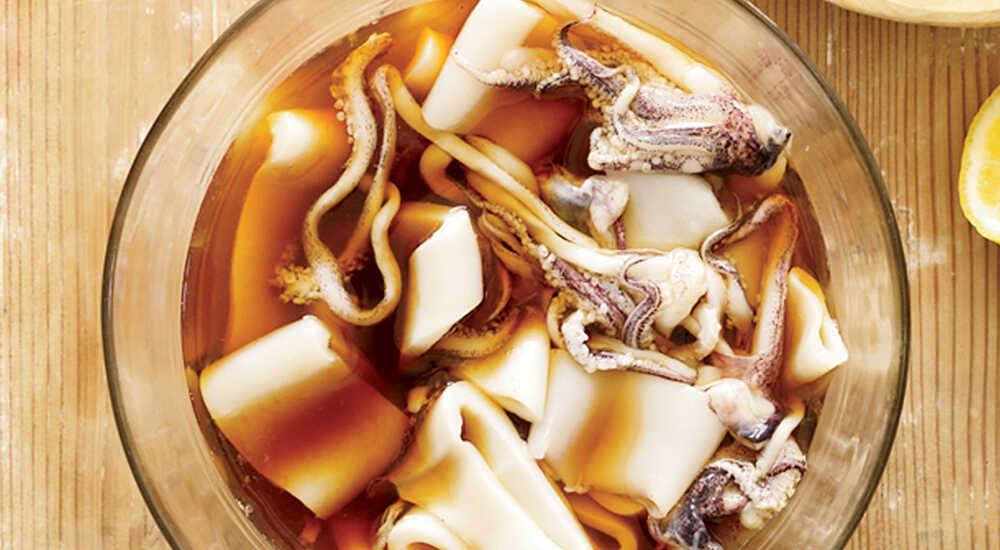 Маринование кальмара в соевом соусе