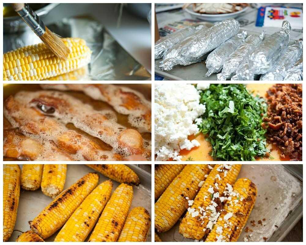 Пошаговое приготовление кукуруза с беконом и сыром
