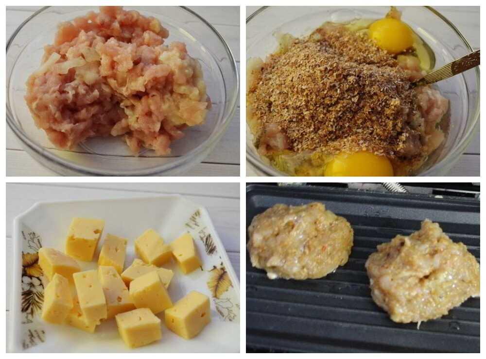Пошаговое приготовление мясных котлет на электрогриле с сыром