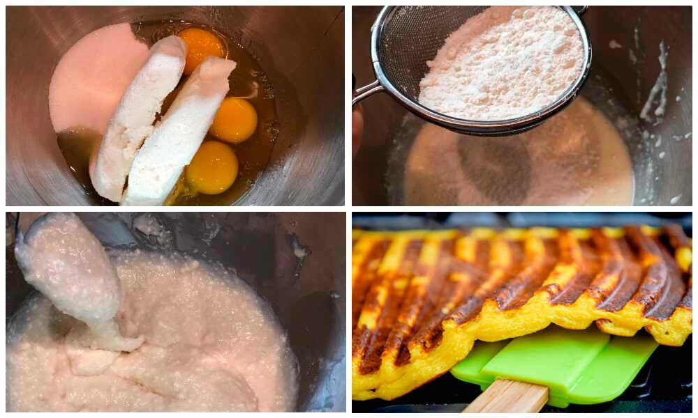 Пошаговый алгоритм приготовления сырных вафлей