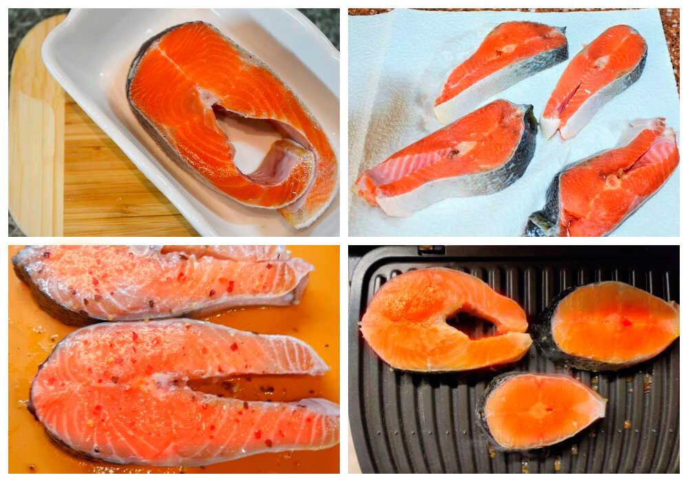 Приготовление красной рыбы на электрогриле без маринада
