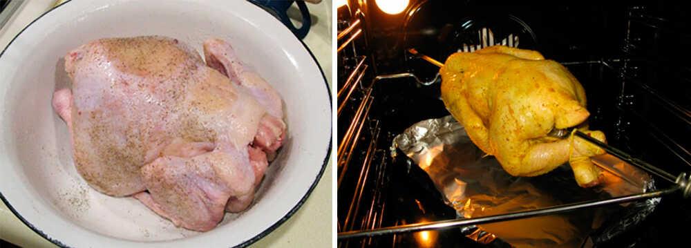 Приготовление курицы-гриль в духовке на вертеле целиком