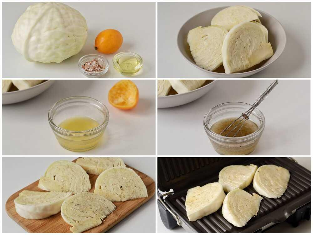 Процесс приготовления белокочанной капусты на гриле