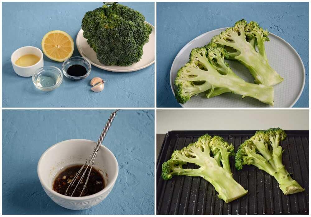 Процесс приготовления брокколи на гриле