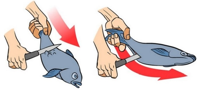 Чистка рыбы ножом