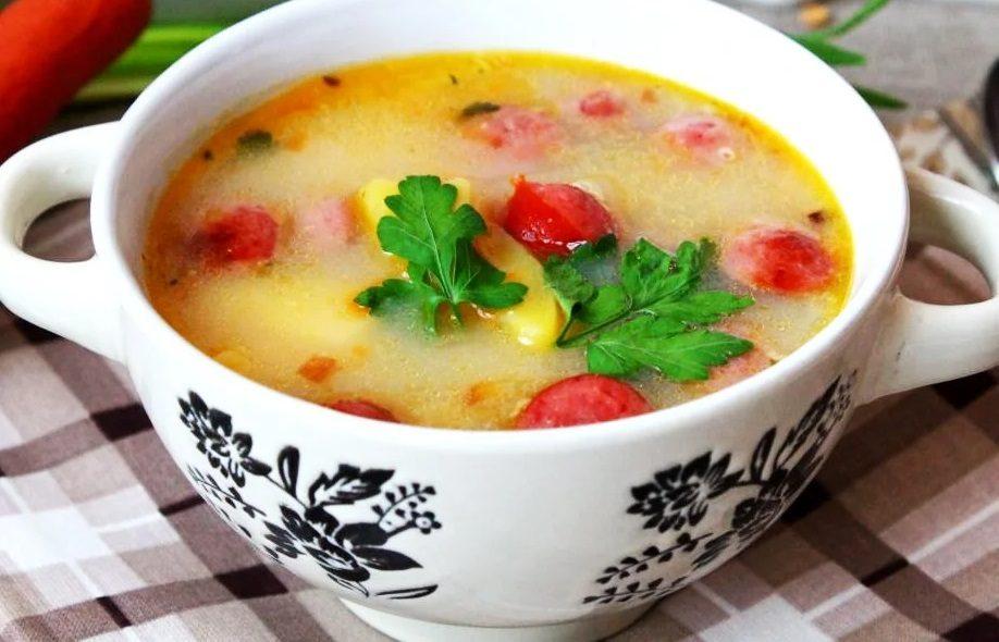 Гороховый суп-пюре с охотничьими колбасками