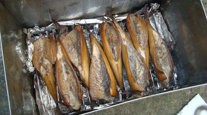 Готовая рыба в коптильне горячего копчения