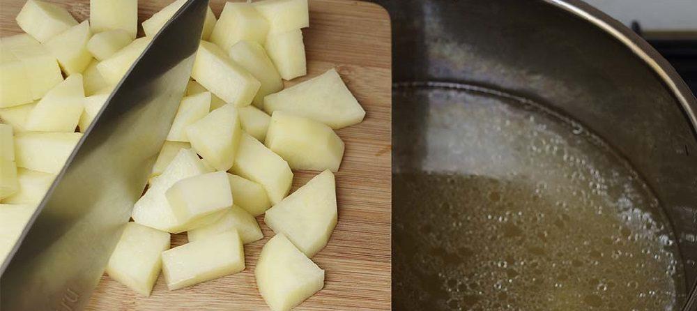 Картофель и бульон для классической солянки