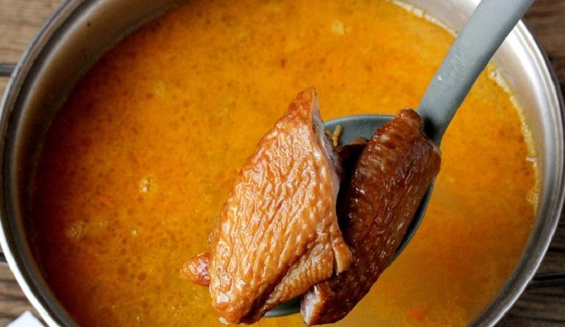 Копчёные крылья для супа в мультиварке