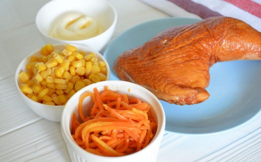 Кукуруза, курица и корейская морковь