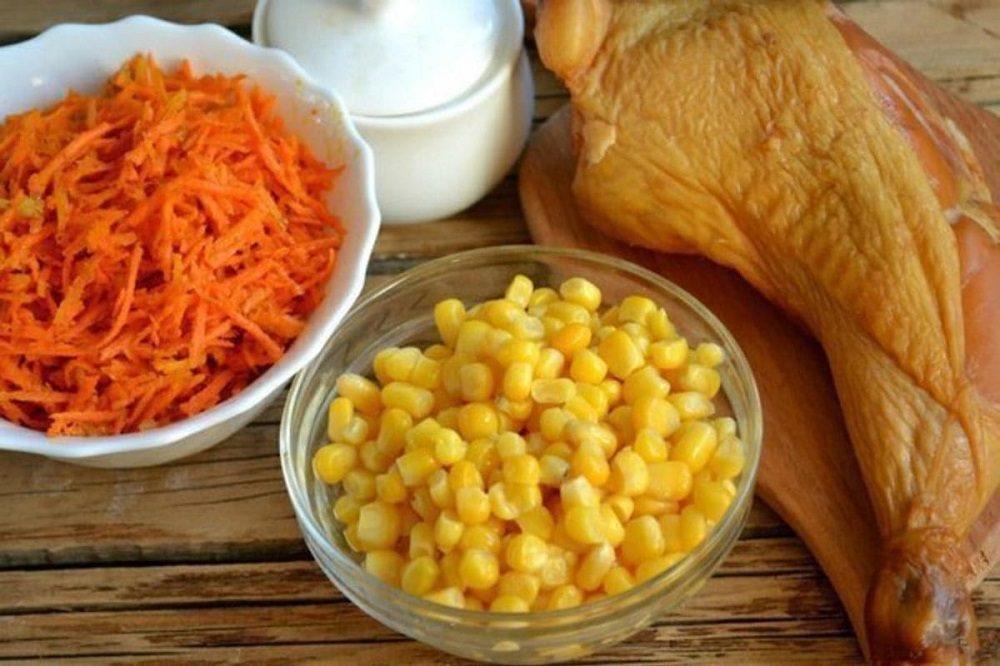 Морковь, кукуруза и курица