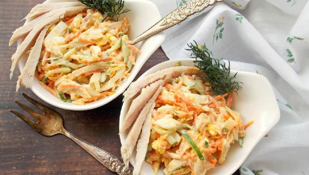 Салат из копчёной курицы с корейской морковкой
