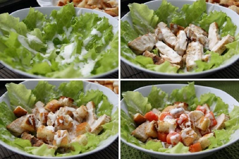 Салат «Цезарь»с курицей и сухариками