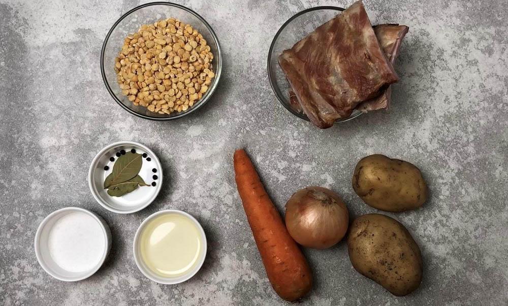 Состав горохового супа с рёбрышками