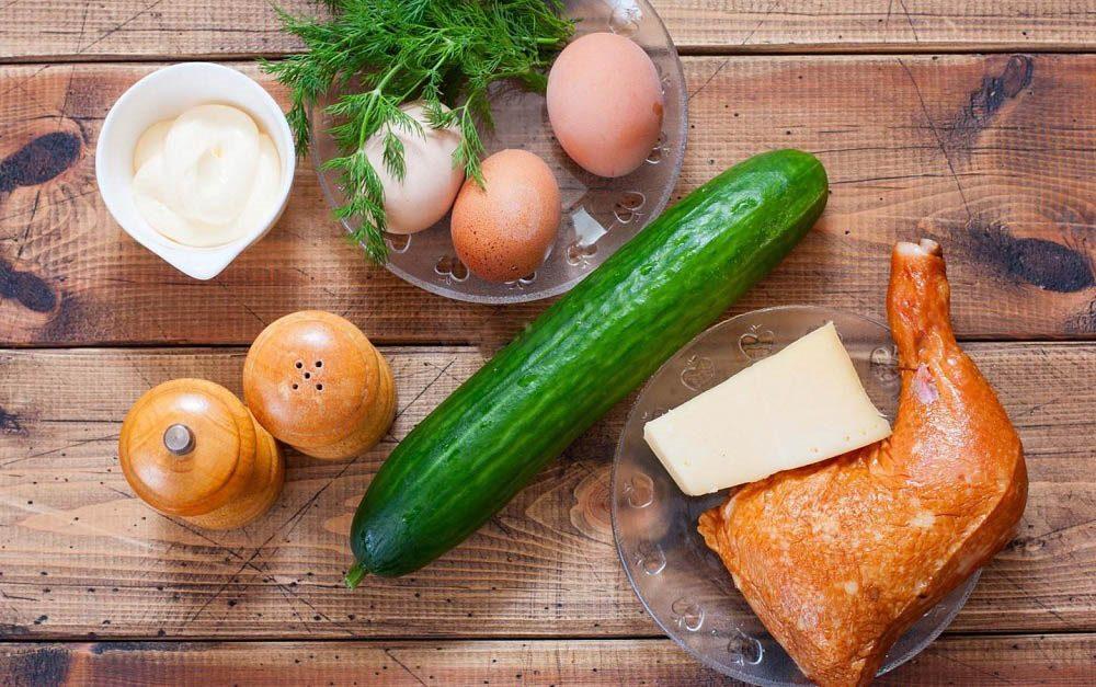 Состав салата с огурцом и сыром
