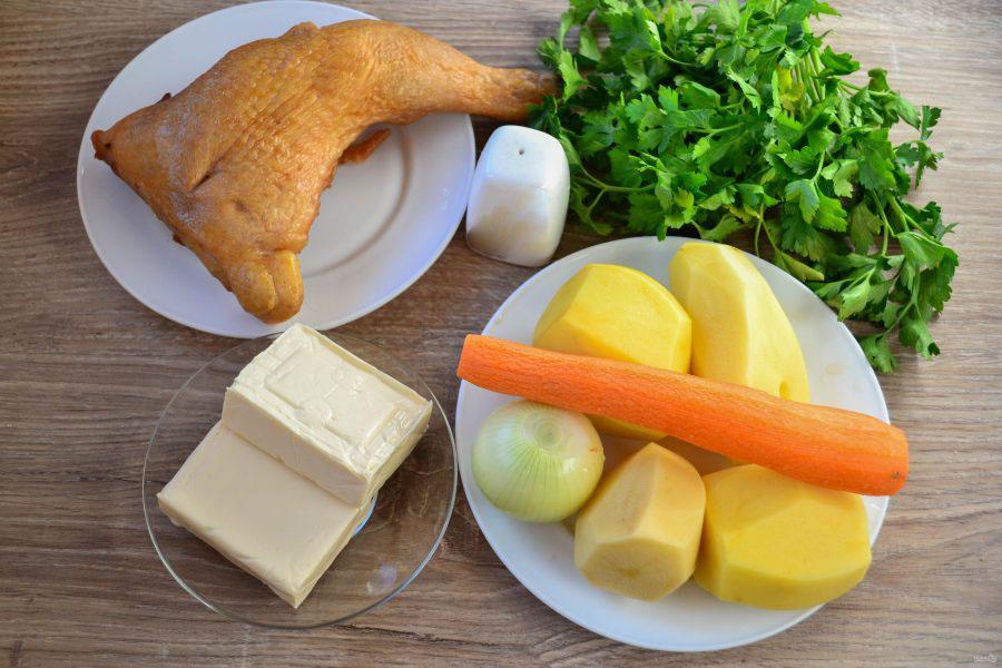 Состав супа с сыром и окорочком