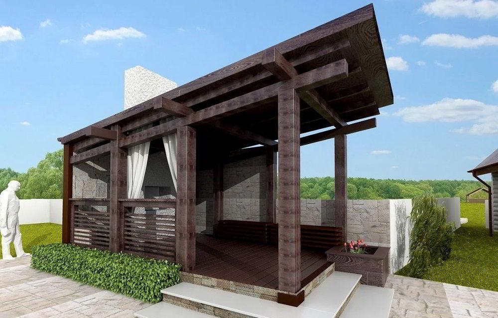 Односкатная крыша из дерева