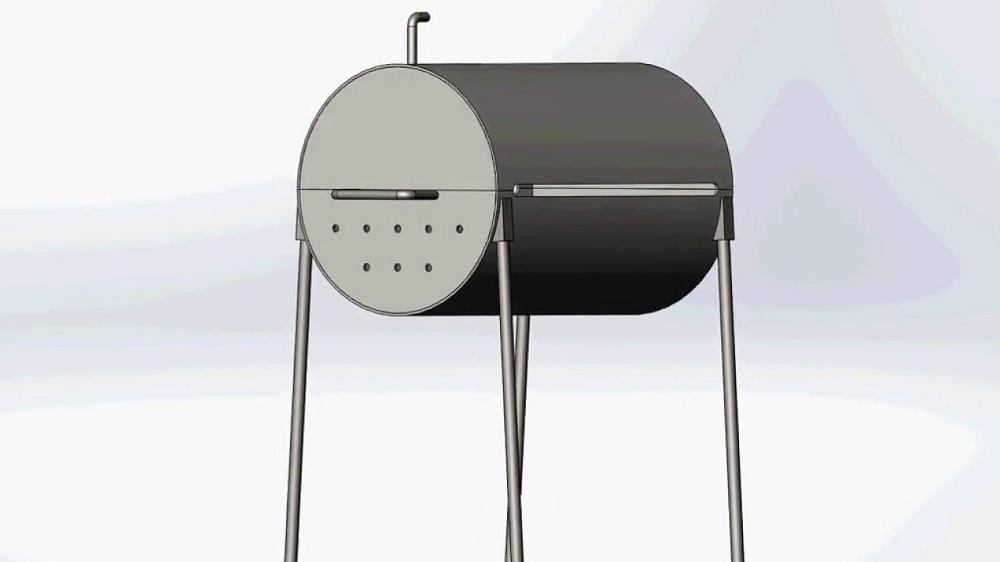 Конструкция барбекю из бочки