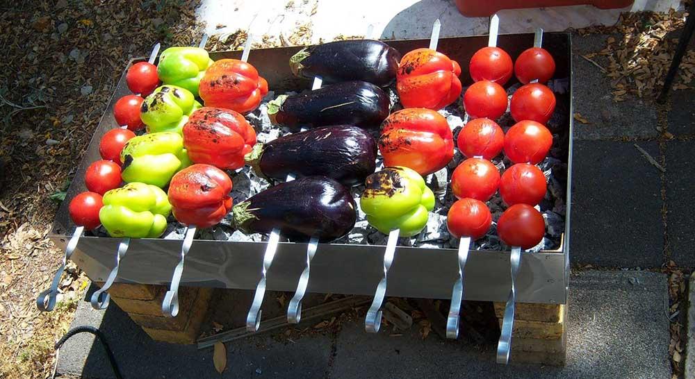 Баклажаны, перец, помидоры