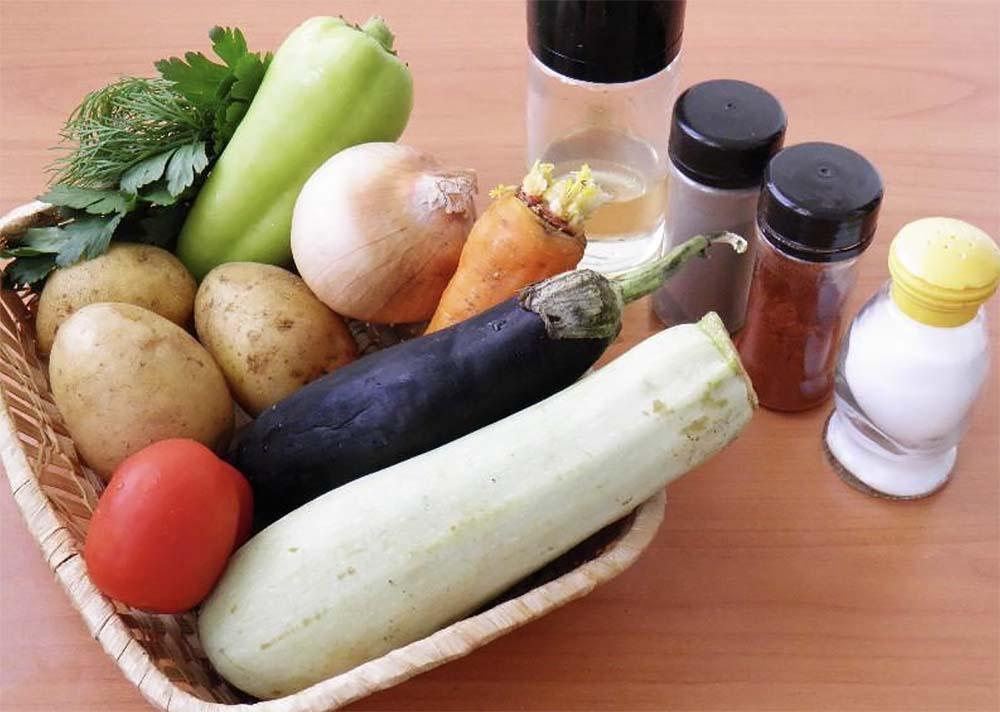 Картофель, кабачок, баклажан, перец