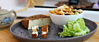Копчёный тофу и салат