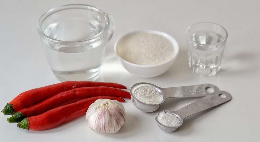 Перец, чеснок, сахар, вода