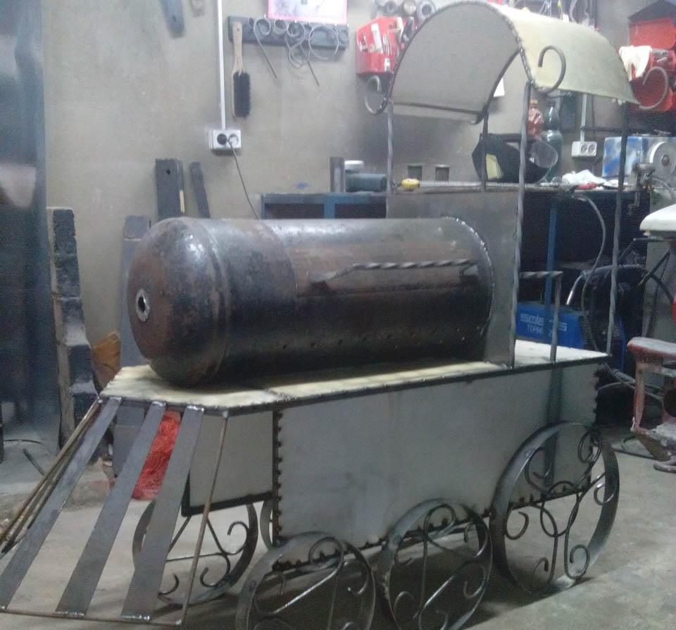 Мангал-паровоз на колёсах