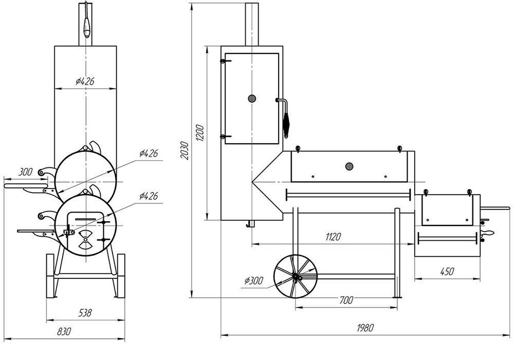 Схема мангала-паровоза